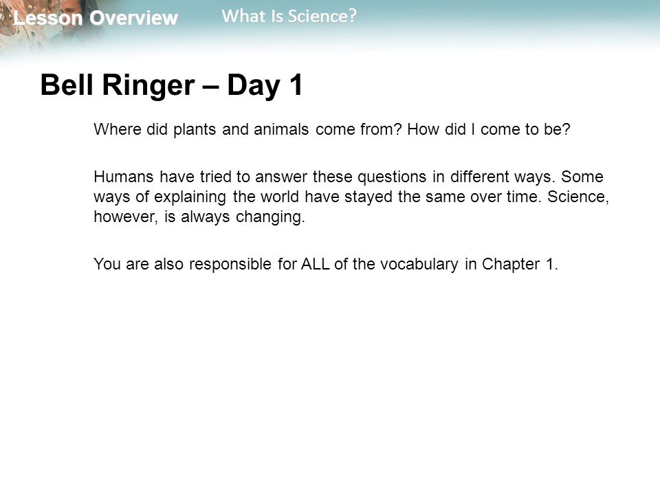 Bell Ringer – Day 1 Where did plants and animals come from How did I come to be