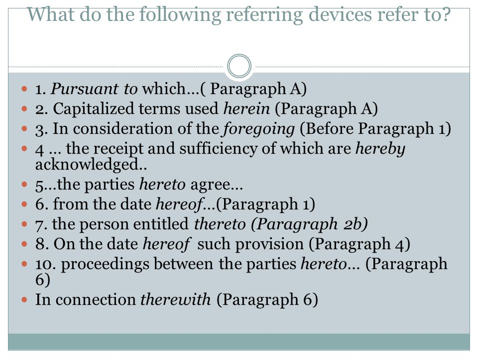 What do the following referring devices refer to