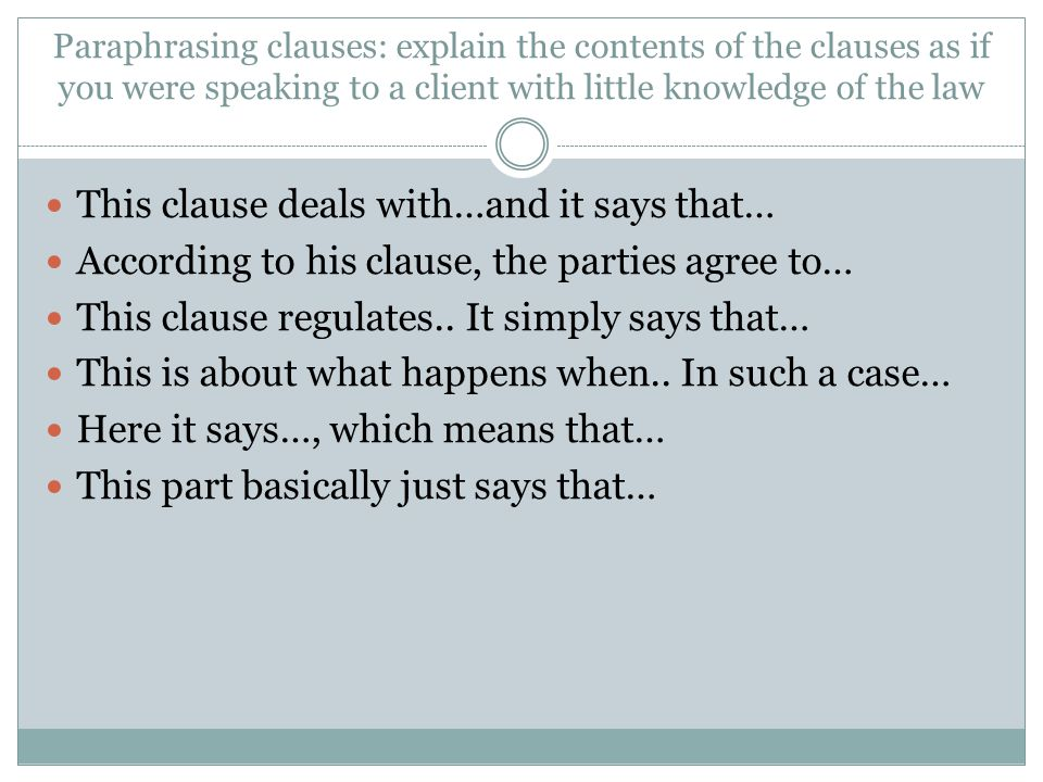 This clause deals with…and it says that…