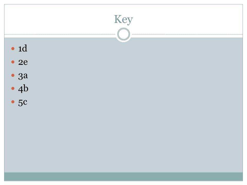 Key 1d 2e 3a 4b 5c