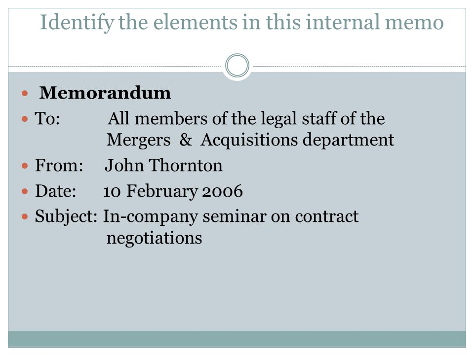 Identify the elements in this internal memo