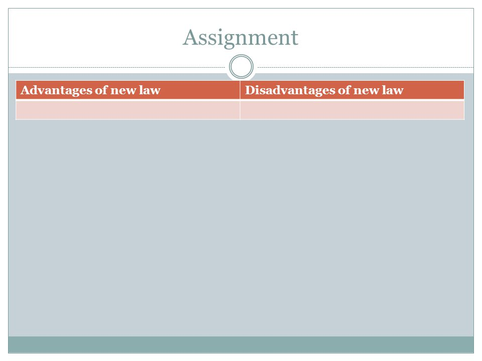 Assignment Advantages of new law Disadvantages of new law