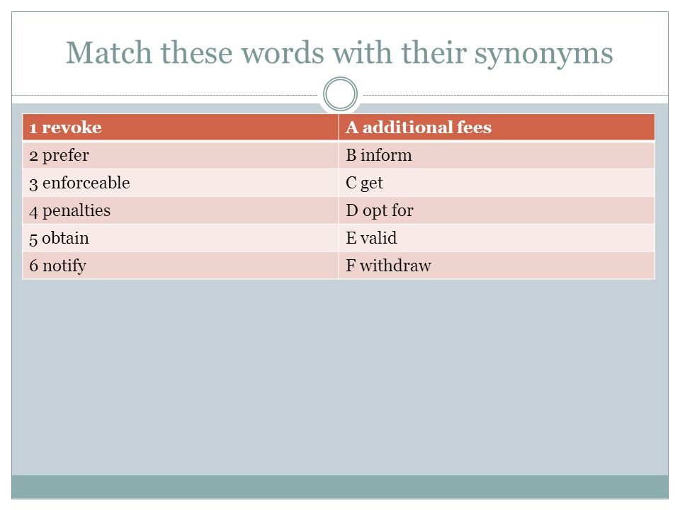 Match these words with their synonyms