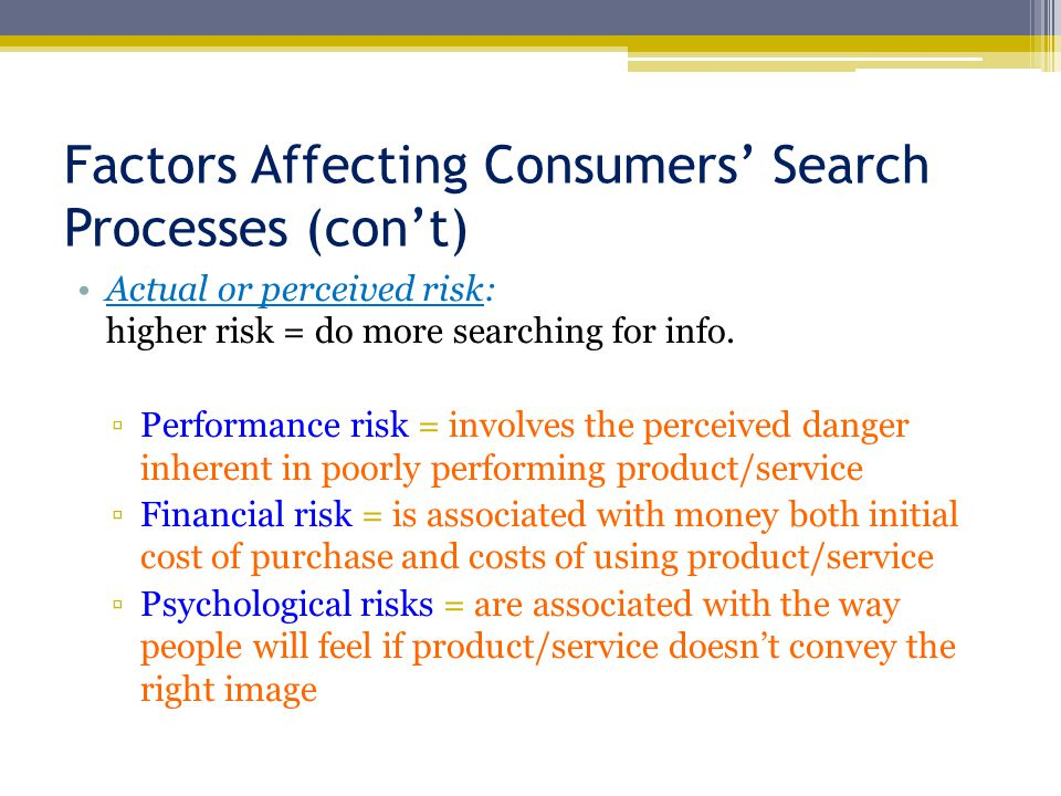 Factors Affecting Consumers' Search Processes (con't)