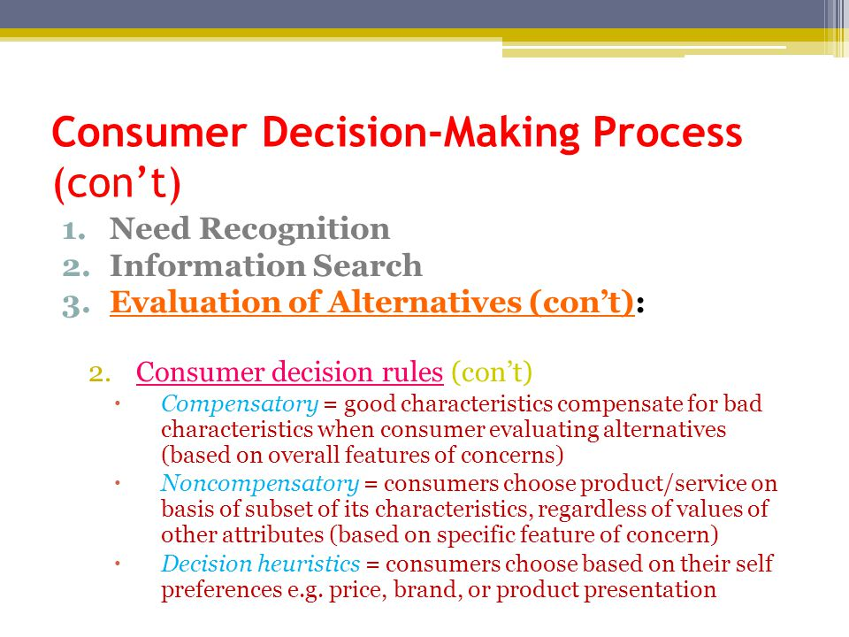 Consumer Decision-Making Process (con't)