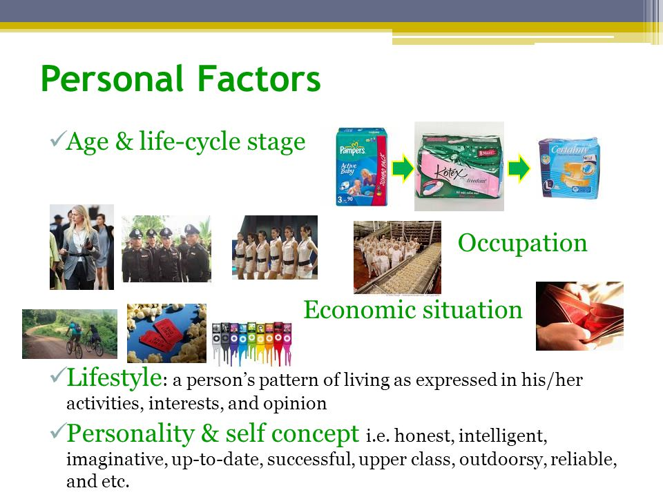 Personal Factors Age & life-cycle stage Occupation Economic situation