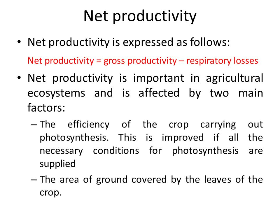 Net productivity Net productivity is expressed as follows: