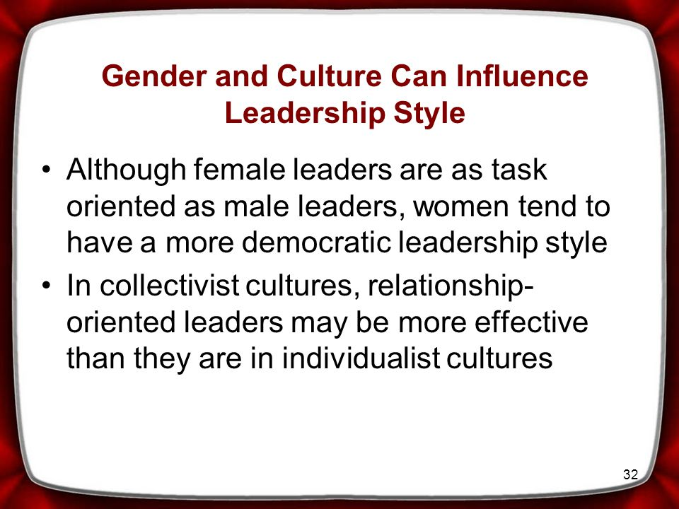 Gender and Culture Can Influence Leadership Style
