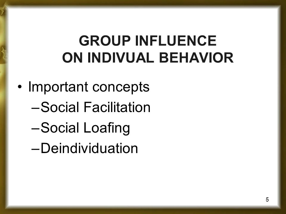 GROUP INFLUENCE ON INDIVUAL BEHAVIOR