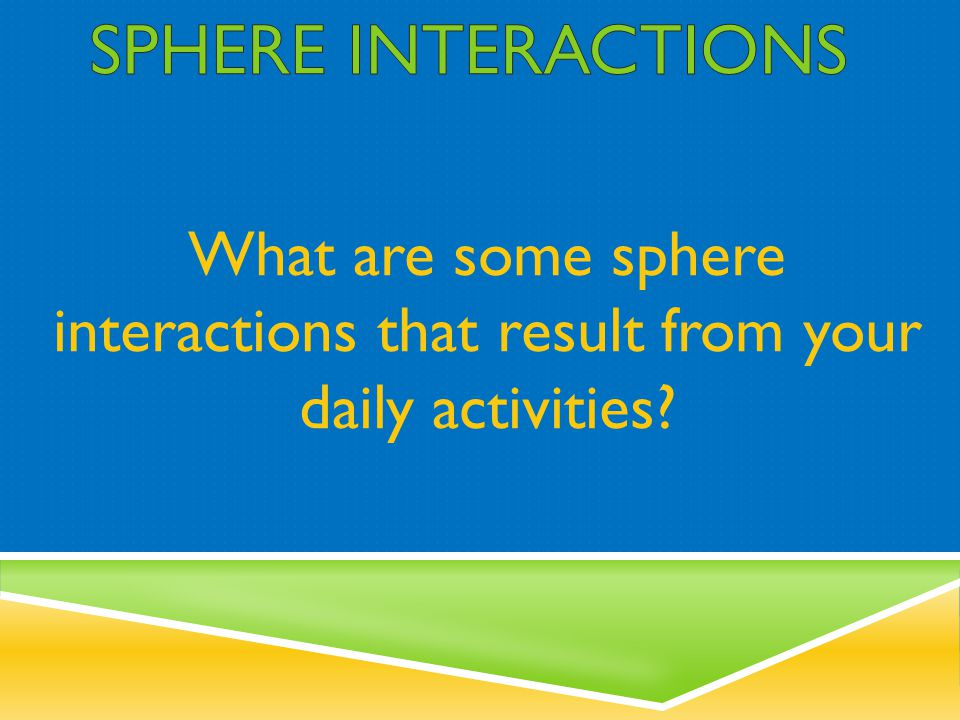 SPHERE INTERACTIONS What are some sphere interactions that result from your daily activities