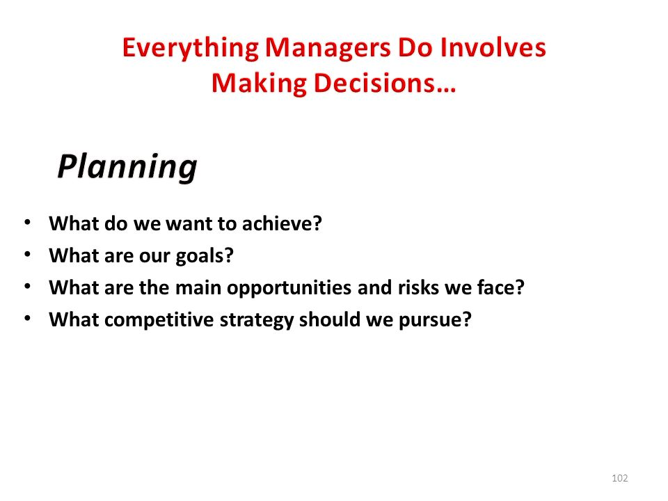 Everything Managers Do Involves Making Decisions…