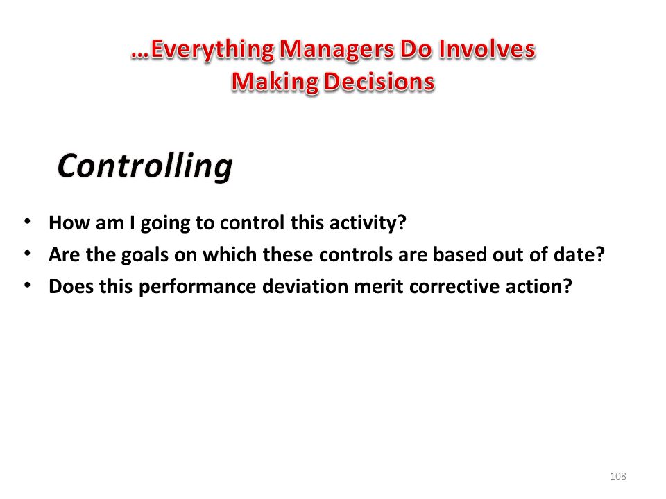 …Everything Managers Do Involves Making Decisions