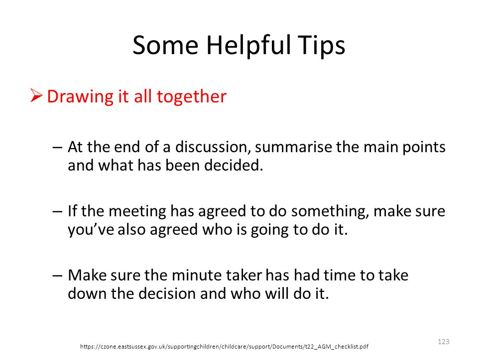 Some Helpful Tips Drawing it all together