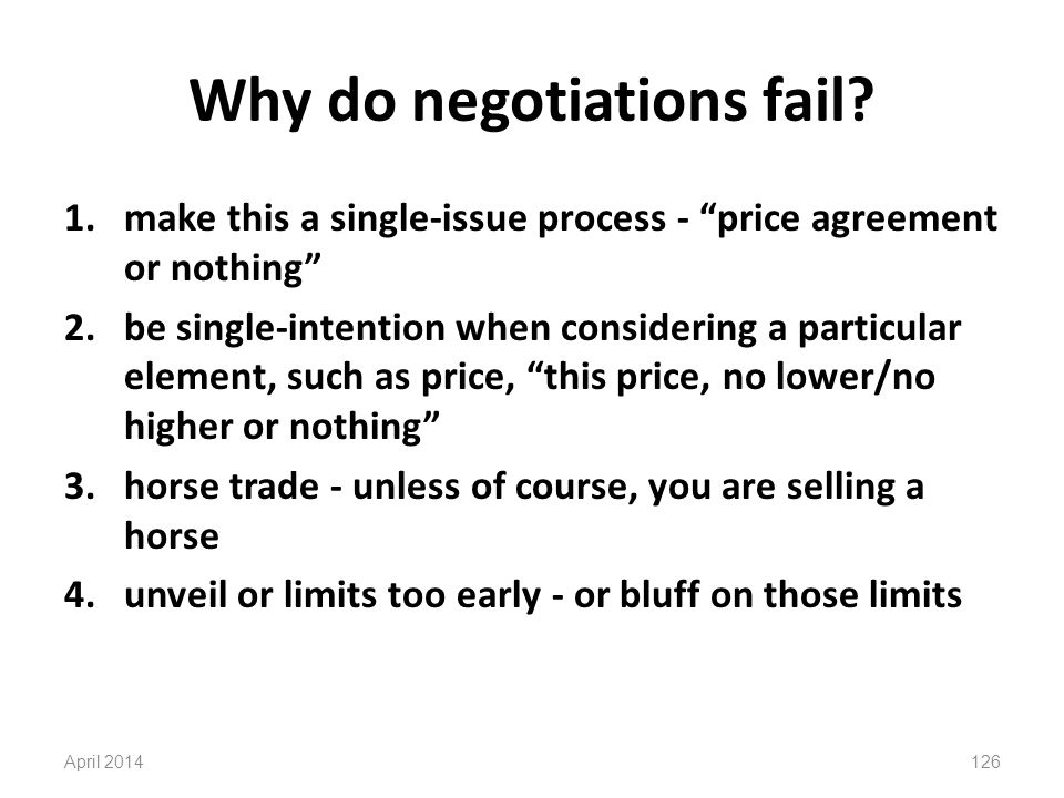 Why do negotiations fail