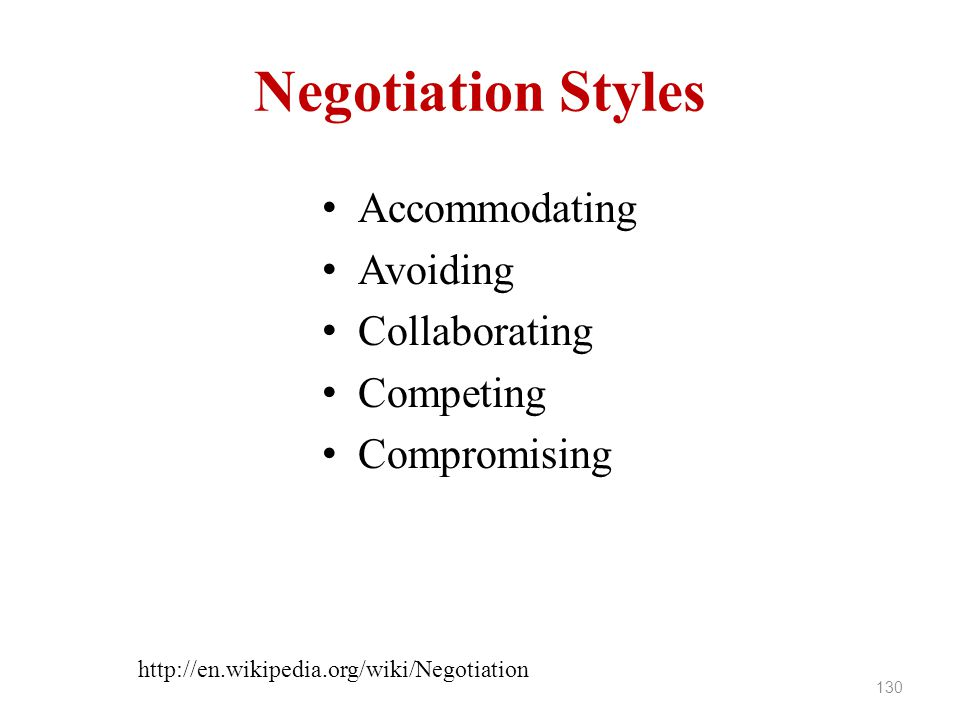 Negotiation Styles Accommodating Avoiding Collaborating Competing