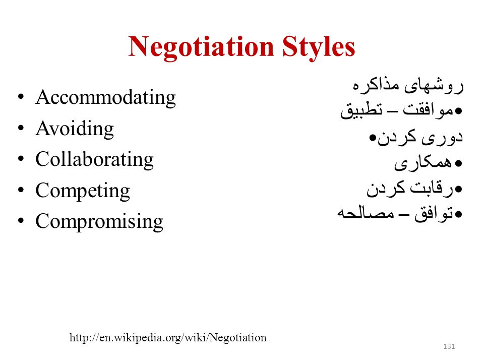 Negotiation Styles روشهای مذاکره Accommodating موافقت – تطبیق Avoiding