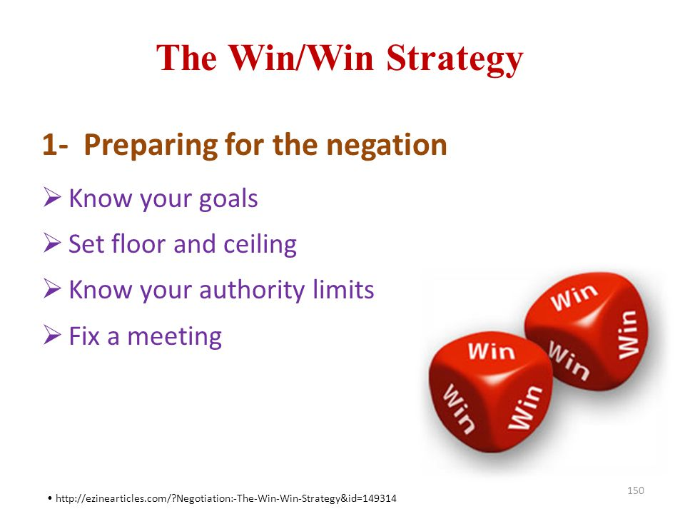 The Win/Win Strategy 1- Preparing for the negation Know your goals