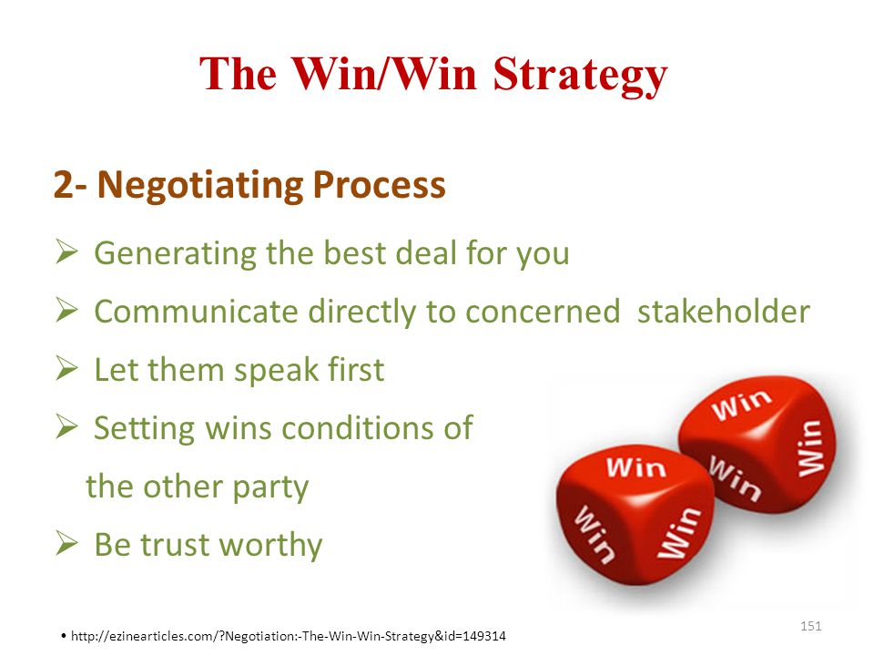 The Win/Win Strategy 2- Negotiating Process
