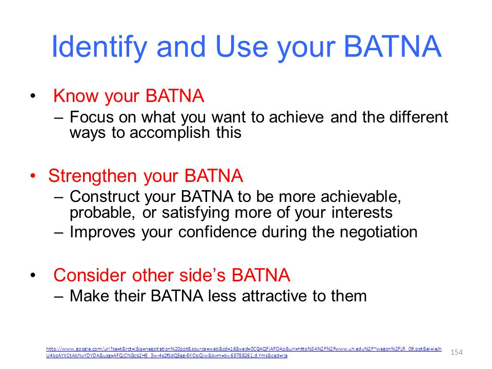 Identify and Use your BATNA