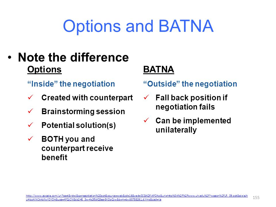 Options and BATNA Note the difference Options BATNA