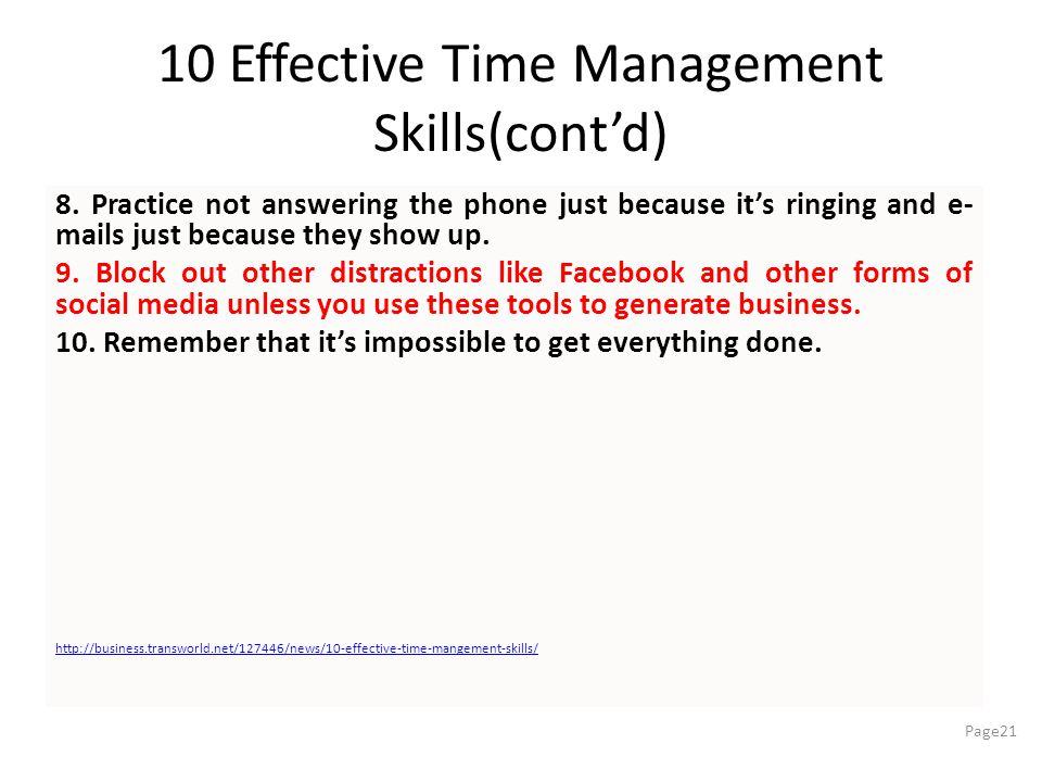 10 Effective Time Management Skills(cont'd)