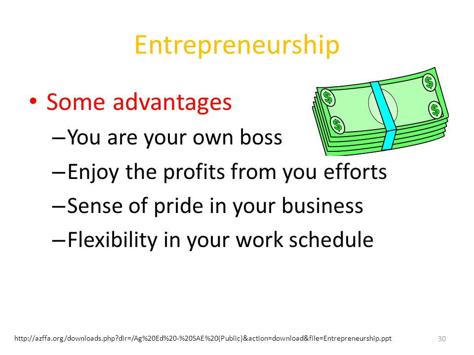 Entrepreneurship Some advantages You are your own boss