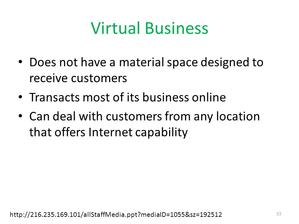 Virtual Business Does not have a material space designed to receive customers. Transacts most of its business online.