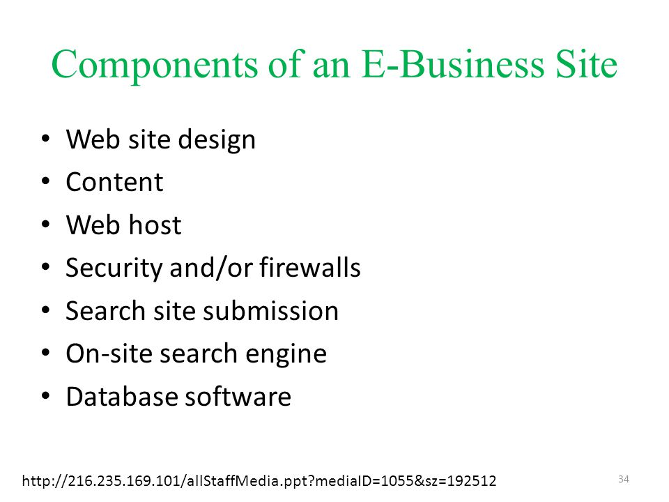 Components of an E-Business Site