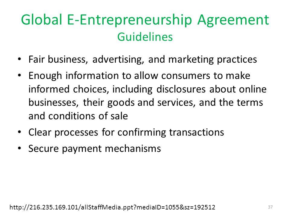 Global E-Entrepreneurship Agreement Guidelines