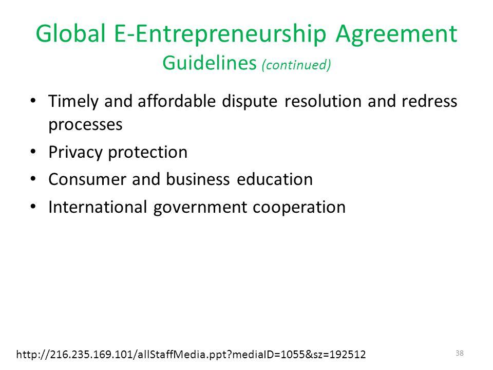 Global E-Entrepreneurship Agreement Guidelines (continued)