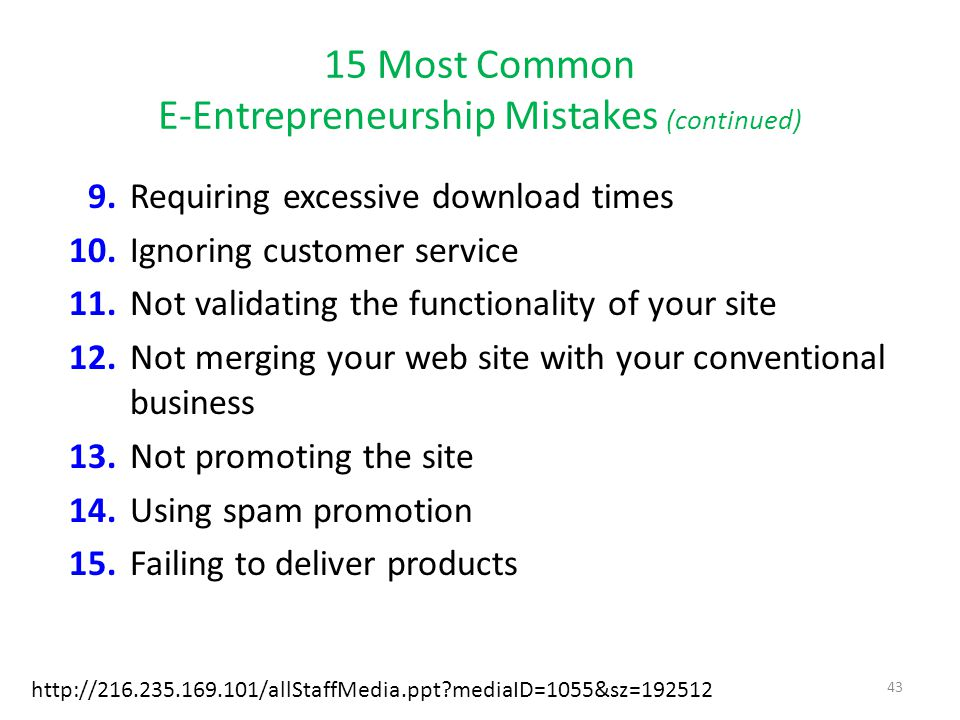 15 Most Common E-Entrepreneurship Mistakes (continued)