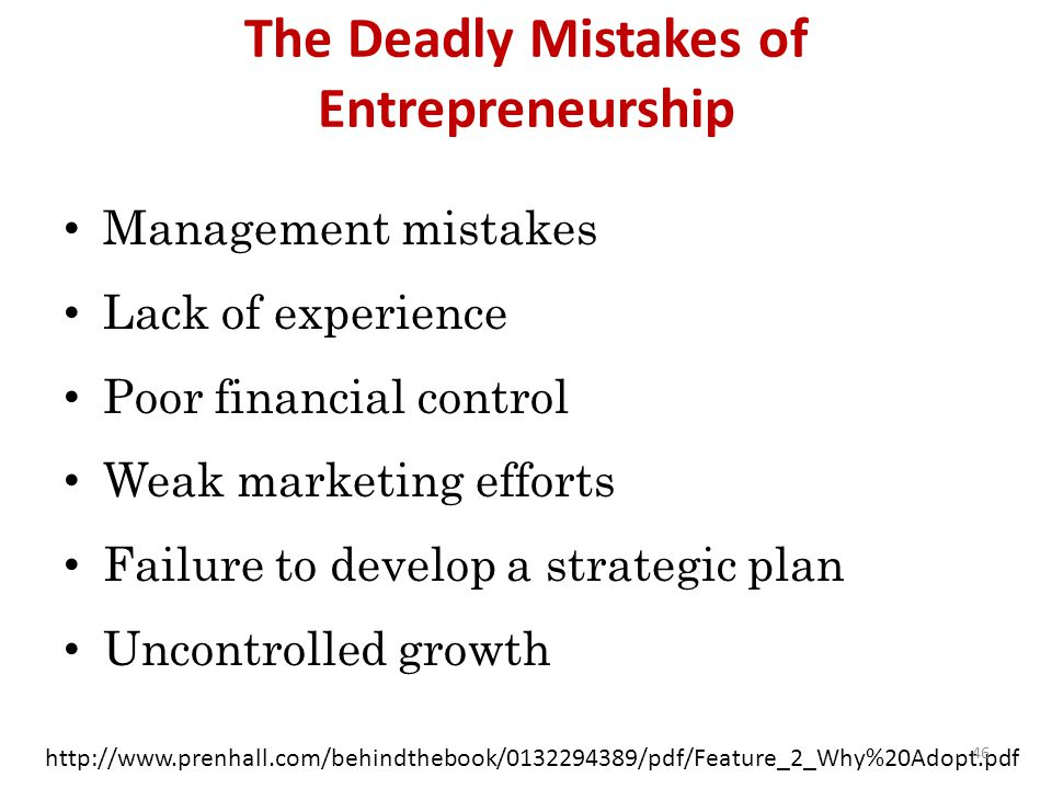The Deadly Mistakes of Entrepreneurship