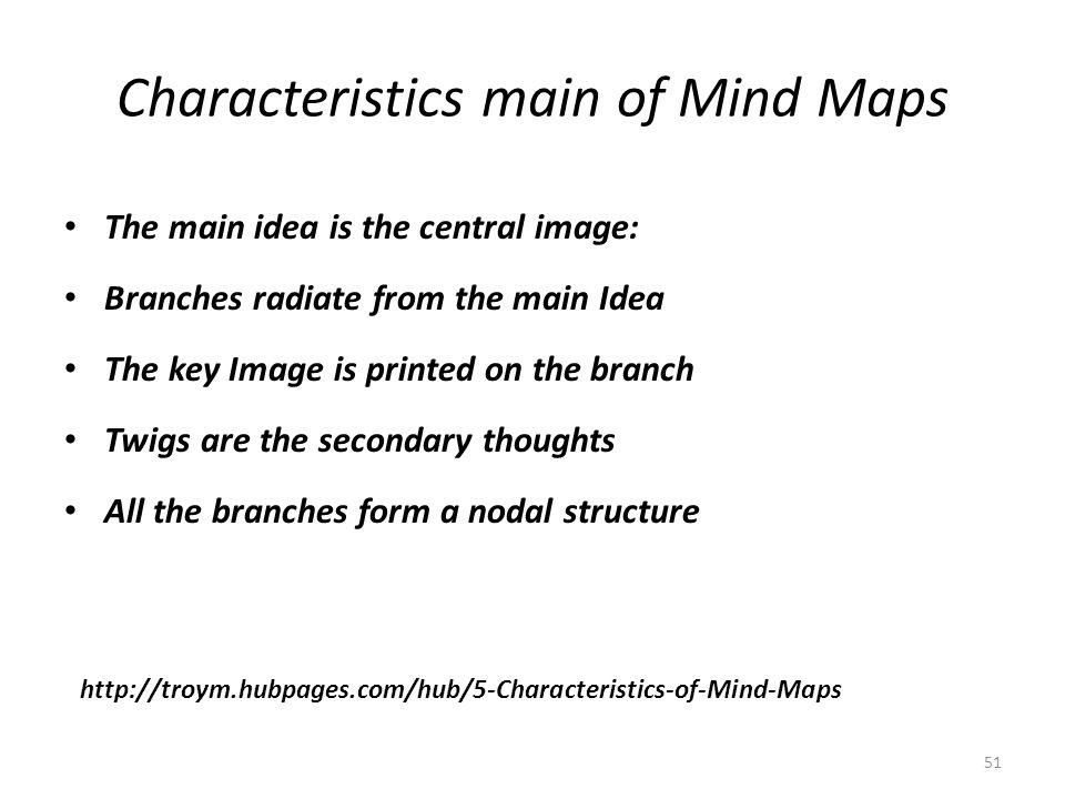 Characteristics main of Mind Maps