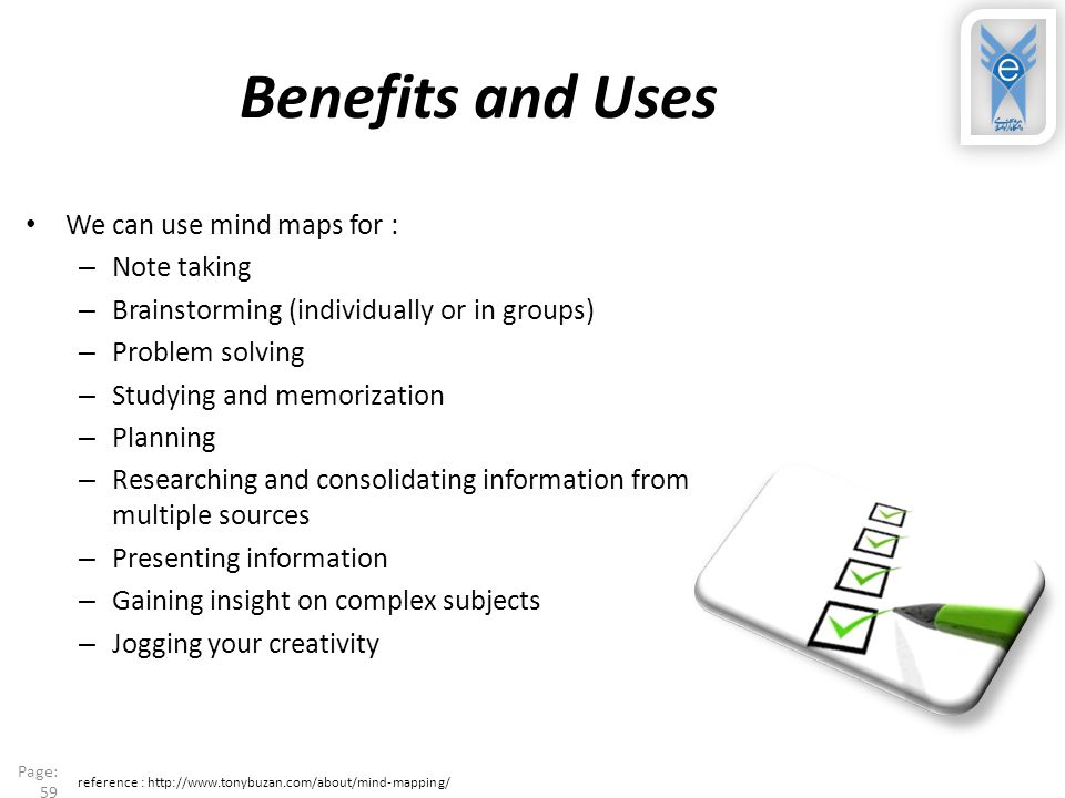 Benefits and Uses We can use mind maps for : Note taking