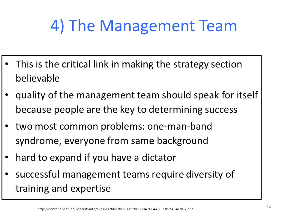 4) The Management Team This is the critical link in making the strategy section believable.