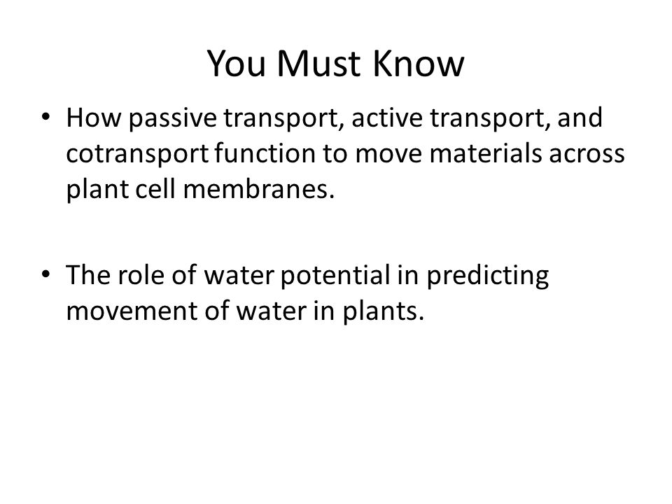 You Must Know How passive transport, active transport, and cotransport function to move materials across plant cell membranes.