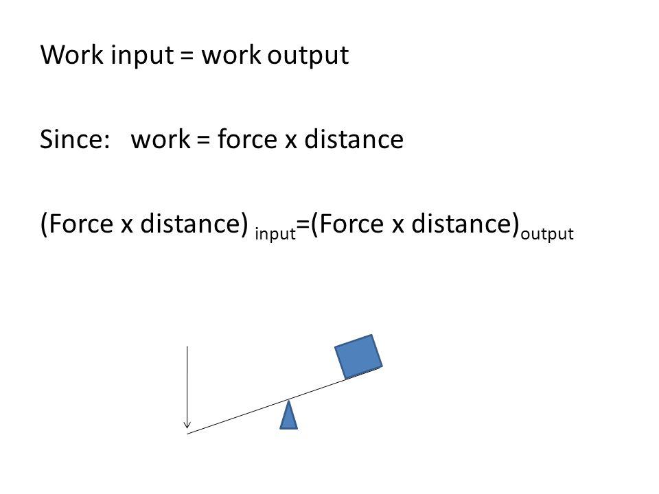 Work input = work output