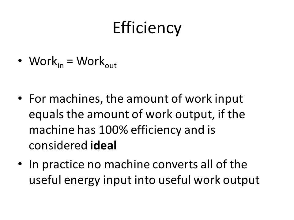 Efficiency Workin = Workout