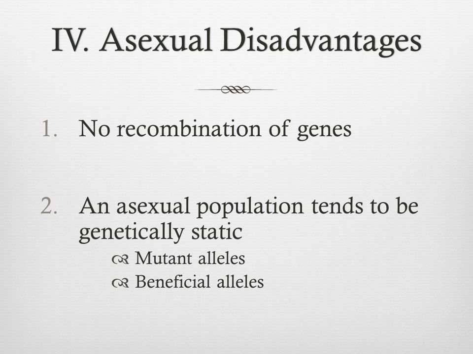 IV. Asexual Disadvantages