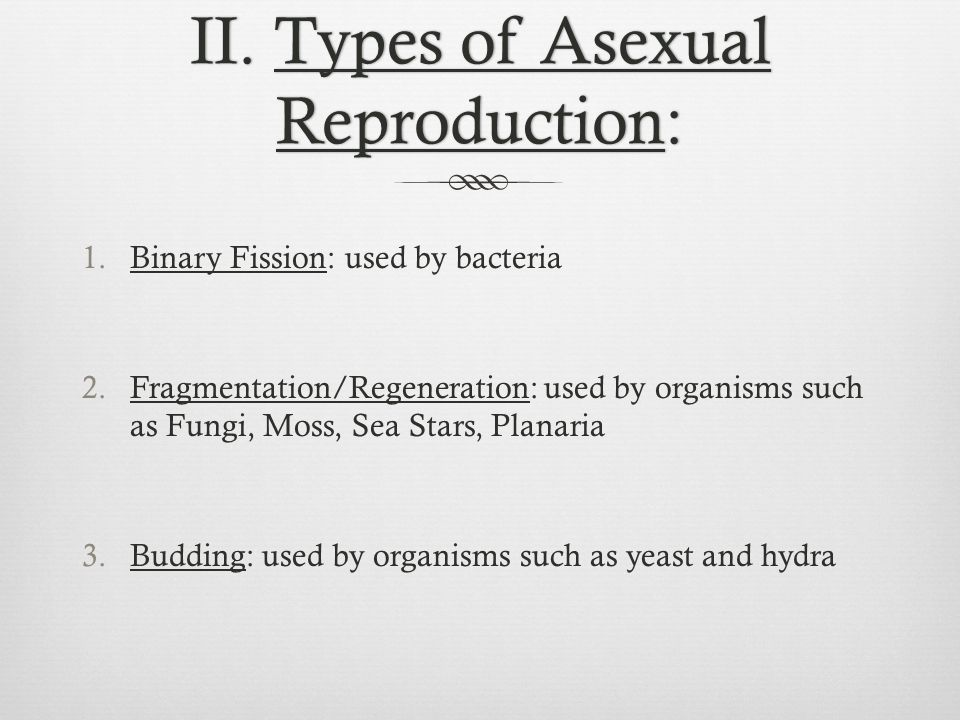 II. Types of Asexual Reproduction: