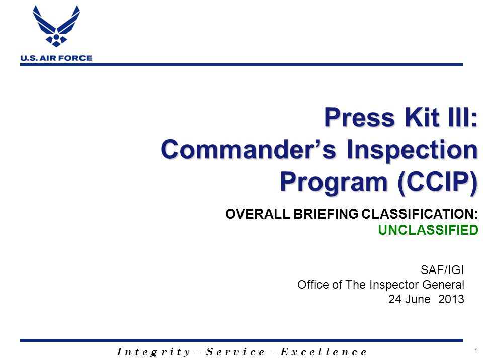 Press Kit III: Commander's Inspection Program (CCIP)