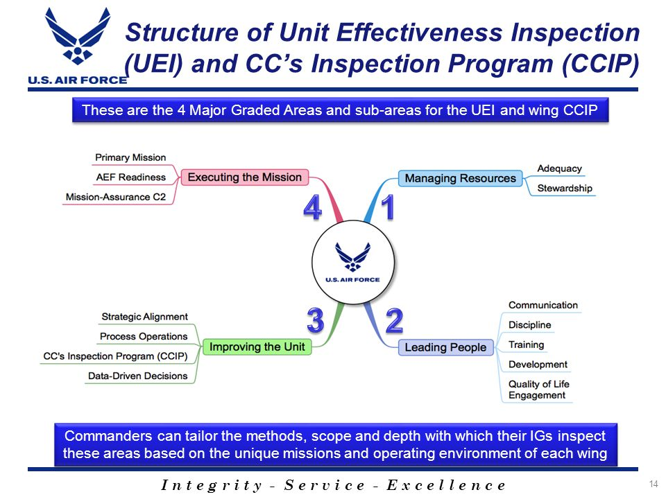 Structure of Unit Effectiveness Inspection (UEI) and CC's Inspection Program (CCIP)