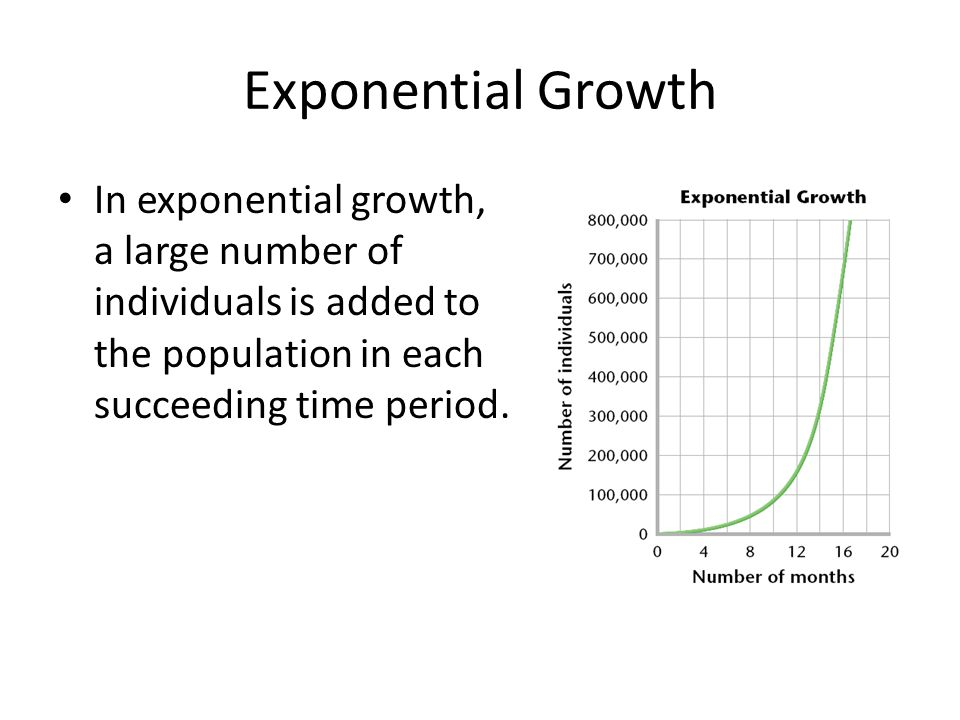 Exponential Growth In exponential growth, a large number of individuals is added to the population in each succeeding time period.