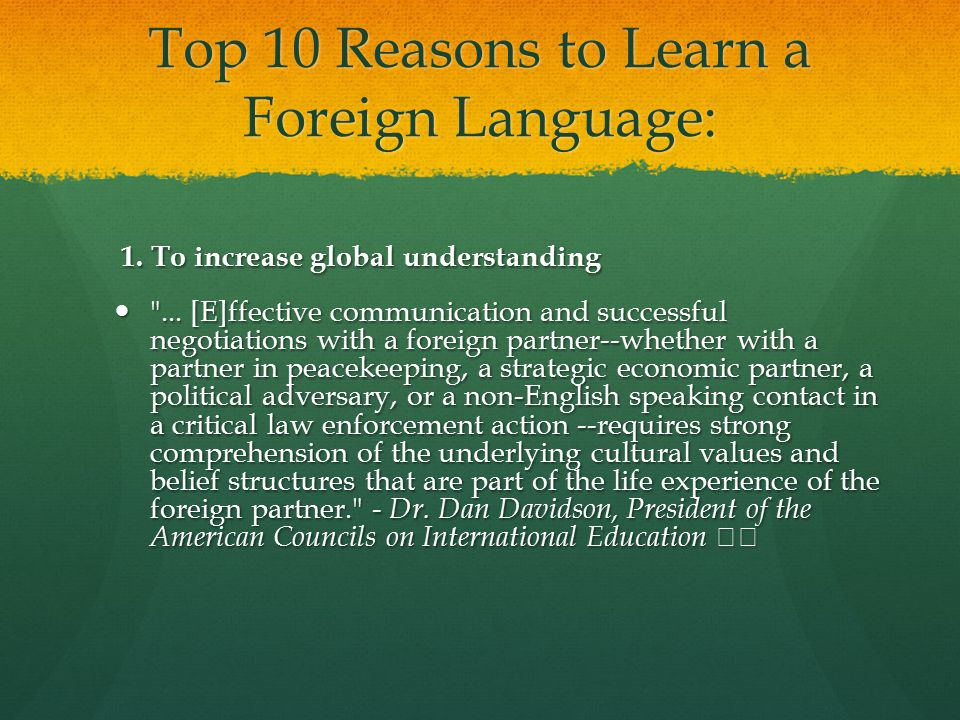 Top 10 Reasons to Learn a Foreign Language: