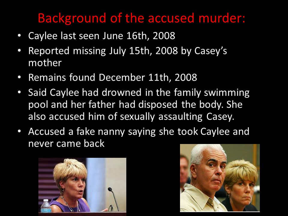 Background of the accused murder: