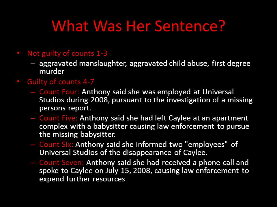 What Was Her Sentence Not guilty of counts 1-3