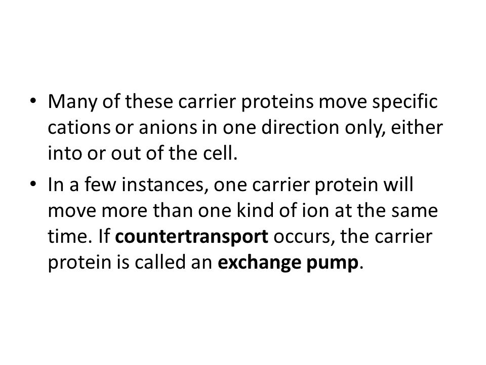 Many of these carrier proteins move specific cations or anions in one direction only, either into or out of the cell.