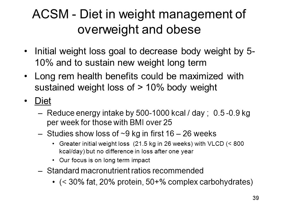 ACSM - Diet in weight management of overweight and obese