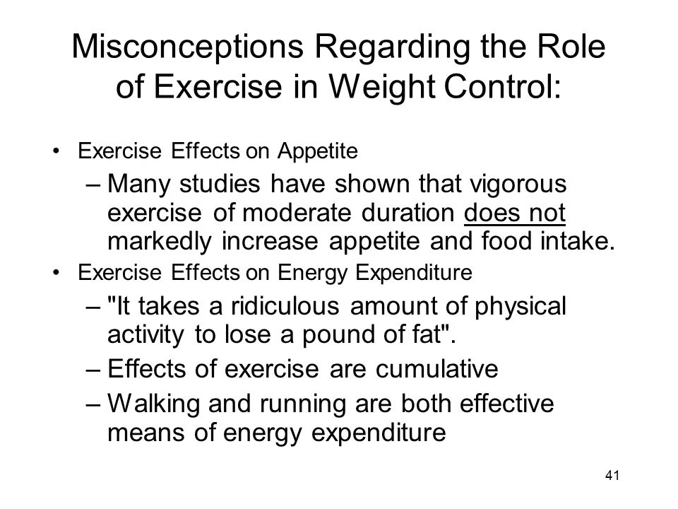 The role of exercise in the