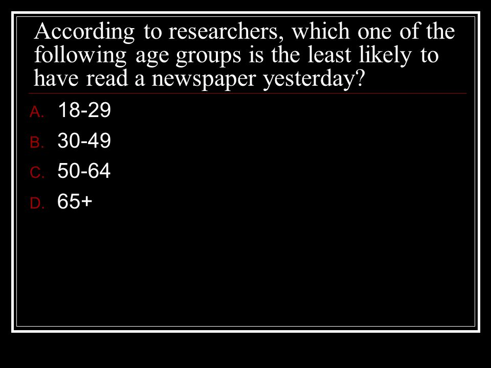 According to researchers, which one of the following age groups is the least likely to have read a newspaper yesterday